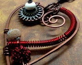 Steampunk Heart Necklace Copper Wire Wrapped Scarlet Red Gears Ivory  Hammered Wire coils
