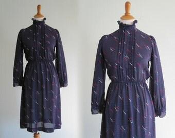 Vintage Sheer Blue Secretary Dress - Sleek 80s Meteor Print Sheer Dress - Vintage 1980s Dress XS S
