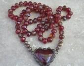 Garnet Red Heart Necklace Hand-Knotted Czech Glass Designer Heart Pendant Layering Boho Style HEART THROB by SplendorVendor on Etsy