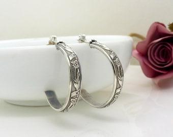 Patterned sterling silver hoop earrings, textured vine and flower hoops, vintage style, handmade oxidized silver jewellery