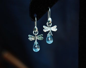 dragonfly - sterling silver earrings with blue topaz drops