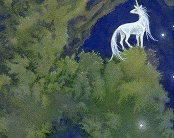 "Limited Edition ACEO Print ""Ancient"" unicorn nature forest dark fantasy art"