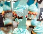 Mermaid Tail Die Cut Cupcake Toppers - Set of 12