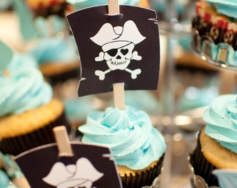 Pirate Flag Die Cut Cupcake Toppers - Set of 12