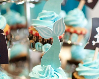 Mermaid Tail Die Cut Cupcake Toppers - Set of 12