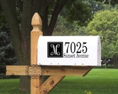 Mailbox Adrress with Monogram Wall Decal