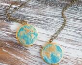 World LOCKET Pendant Atlas Map Western & Eastern Hemisphere Travel Globe Bon Voyage Wanderlust