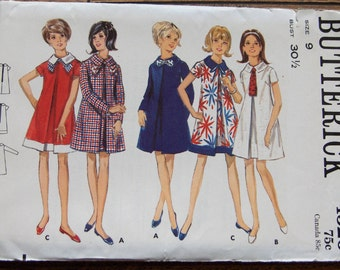 vintage 60s butterick pattern 4526 teens dress uncut  sz 9 b 30 1/2 modified tent dress front inverted pleat shaped collar