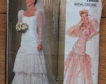Vintage 80s Vogue pattern 1826 Misses bridal gown wedding dress special occasion sz 10