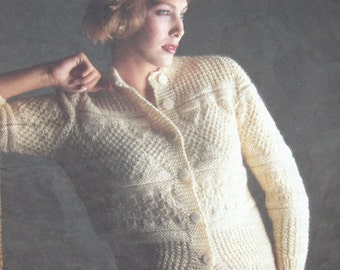 vintage 80s knitting pattern Islande Buttoned Sweater cardigan women misses