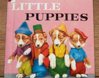 vintage 50s childrens book Rand McNally Elf book FOUR LITTLE PUPPIES photos of real puppies