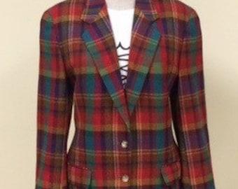 Vintage Plaid Blazer Jacket - Colorful Plaid - 1970s 1980s Jacket - Retro Hipster - Fall Jacket Blazer - Crazy Plaid - Trending - 40 Bust
