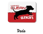 Clean Dirty Dishwasher Magnet, Weiner Dog Design - Washed Clean, Licked Clean - Sign for dishwasher, dash hound dachshund dachsund puppy