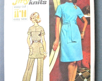 Simplicity 5557 Bust 36 Vintage Misses OnePiece Dress Tunic and Bell Bottom Pants Sewing Pattern 1970s