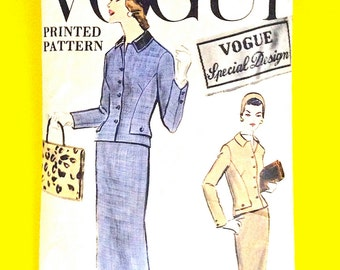 50s Vogue S-4829 Vogue Special Design Women's Suit with fabric label Fitted Bodice  Slim Skirt Printed Vintage Sewing Pattern Bust 36 Hip 38