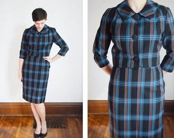 1960s Black Plaid Skirt Suit - S