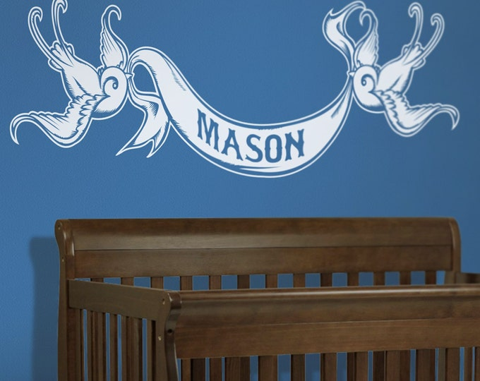 tattoo vinyl wall decal sticker art- tattoo swallow custom banner, nursery wall decal, FREE SHIPPING