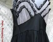 SHEER Black / White Ruffled American made Slip night dress