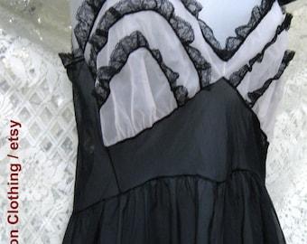 SHEER Black / White Ruffled American made Slip night dress, black white slip, chiffon nylon ladies slip dress, vintage ruffled night dress