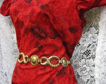 LARGER Sized Fire Orange w/ Gold outlines, zen vintage cotton soft maxi dress gown