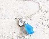 Sky Blue Chalcedony Necklace, Sterling Silver Heart Charm, Sterling Silver Gemstone Necklce, Valentine's Day Jewelry, Simple Petite Teardrop