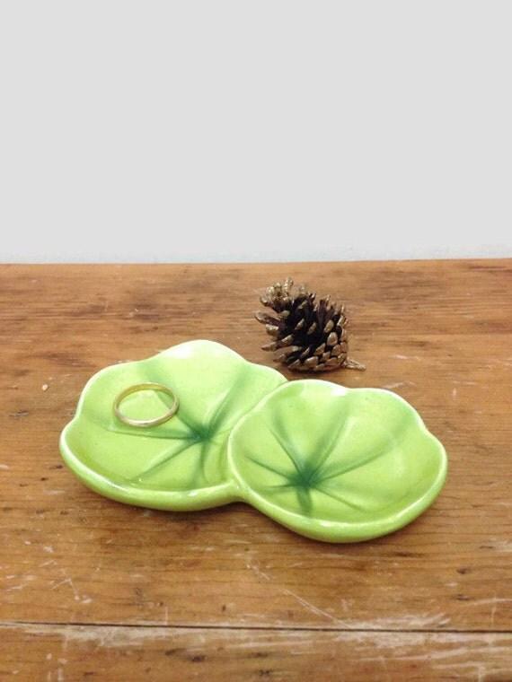 Vintage Ring Dish - Lily Pad Dish - Green Ceramic - Made in Japan