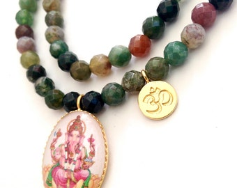 Om Agate necklace for women with Ganesha pendant, faceted Indian agate, long bohemian necklace, gypsy necklace