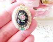 Vintage Rose Locket Necklace 16k Gold Plated - Gold Locket - Oval Locket - Keepsake - Vintage Limoges - Pink Rose