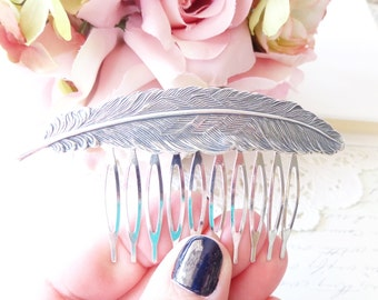 Sterling Silver Plated Feather Hair Comb - Ox Silver Feather Comb - Woodland Hair Accessory - Whimsy - Bridal Feather Hair Comb