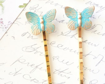 Verdigris Butterfly Hair Pins - Butterfly Bobby Pins - Woodland - Verdigris - Patina - Rustic - Nature - Bridal
