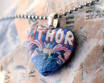 Superhero Heart Necklace - Recycled The Mighty Thor Comic Book Purple Sparkly Resin Pendant