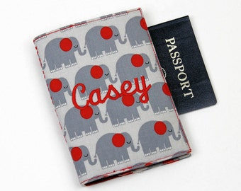 LAST ONE! Elephants Personalized Passport Cover with Velcro Closure - Your name or monogram, Kids Passport