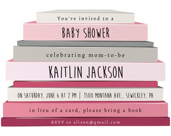 Baby Shower Invitation, Book Party Photoshop Template, Pink Book Stack, Girl, Printable