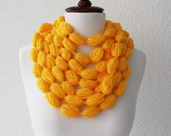 Infinity Scarf Loop Scarf Circle Scarf Cowl Scarf Yellow Crochet Bubble Scarf Neckwarmer
