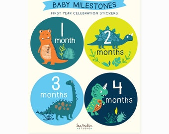 baby Monthly stickers, Baby Milestones, belly Stickers, dinosaur, baby shower gift for boy, new baby gift
