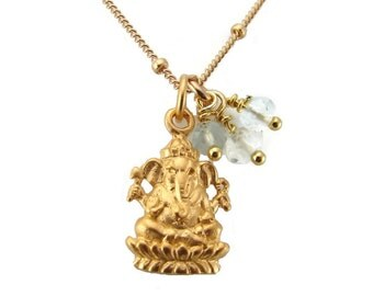 Ganesh Necklace | Aquamarine gemstone | Wisdom, Compassion, Remover Of Obstacles | Yoga Jewelry |Yoga Necklace | Gold Necklace | Gold Ganesh
