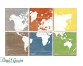 Large Colorful World Map Multi Colored Wall Art - Vintage Map Print Collection 24x36