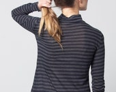 turtle neck cashmere stripes top