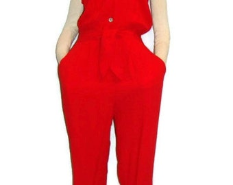 Vintage Red Sleeveless Jumpsuit Red Jumpsuits For Women Vintage Jumpsuits For Women Casual Jumpsuits For Women Red Sleeveless Jumpsuit