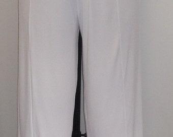 Plus Size Capris, Coco and Juan,Lagenlook Plus Size Pants, White, Cotton Knit, Plus Size Crop Pant.Women's Pants, Size 1 fits 1X, 2X