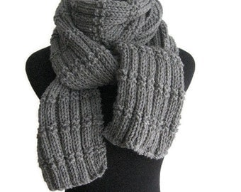 Hand Knit Scarf - Made to Order - Knit Long Scarf Vegan Scarf, Knitwear, Mens Scarf Winter Accessories, Womens Scarf Winter Scarf