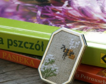 cross stitch brooch with bee - gift for bee keeper