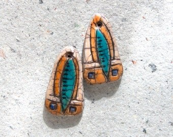 Boho Tribal Earring Bead Pair in Ivory with Blue, and Yellow