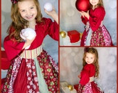 Traditional Christmas Peasant Dress - Holiday - Christmas - Party - Photos - Girls - Winter - Burgundy Red & Green