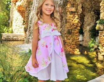 Girls Romantic Roses Dress, sizes 2 to 8 years, by SunLoveShirts