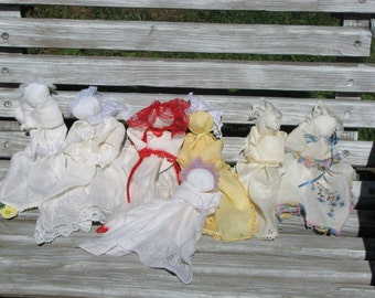 Vintage Hanky Babies, Prayer Dolls, Church Dolls are handmade from Ohio