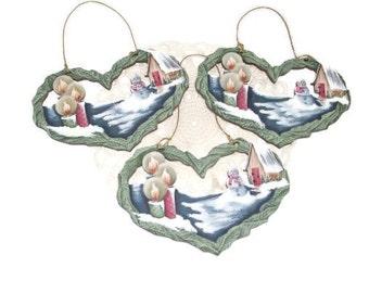 Hand Painted Heart Winter Scene Ornament