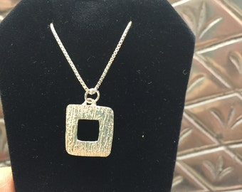Fine Silver Hammered Look Open Square Necklace