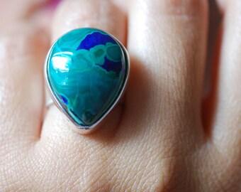 Deep Green Sea Ring Malachite Azurite