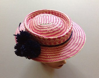 Fuchsia Ivory Navy Paper Straw Boater with Telescoped Crown, Hand Blocked Woven Paper Boater with Navy Raffia Pom Pom Flower Trim